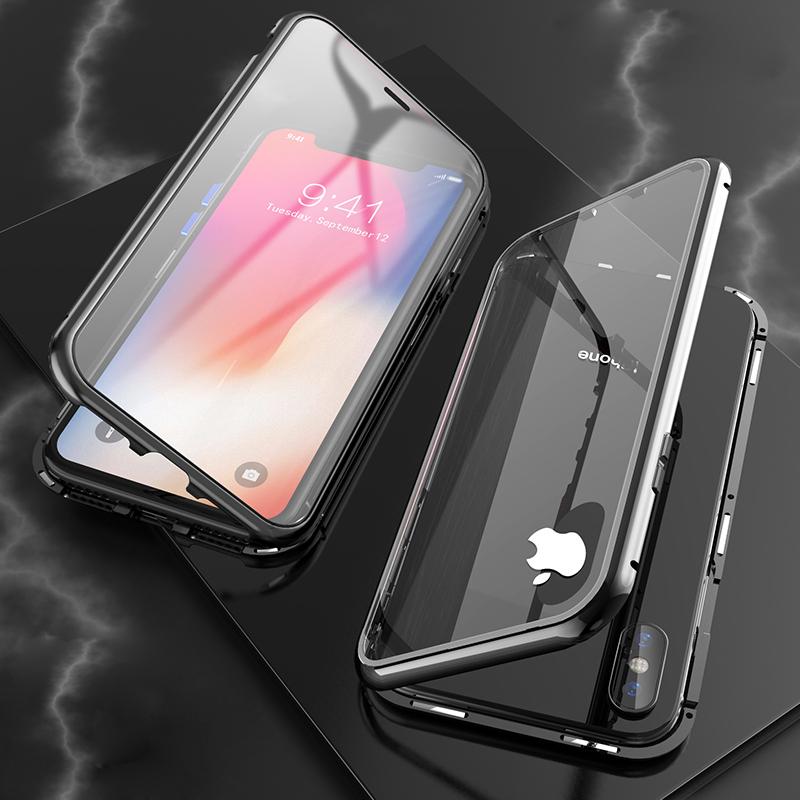 苹果x手机壳抖音同款8plus全包防摔7plus潮牌个性创意iphonex手机壳xs max网红6苹果xr透明玻璃万磁王金属男