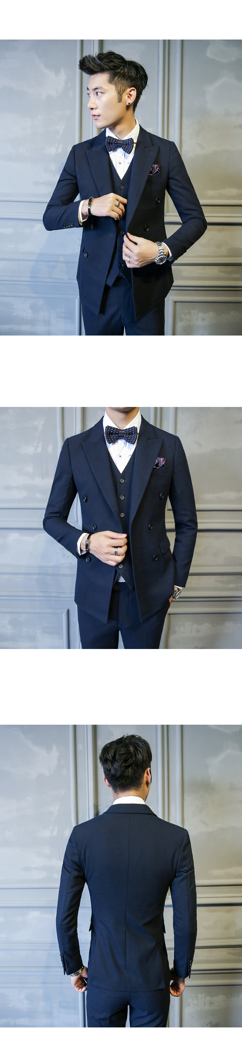 Men Slim Fit Double Breasted Suit 3 Pieces Male Custom Business Dress Wedding Suits for Men Blazer Costume Homme