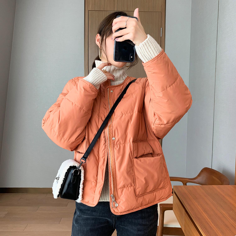韩裳良品韩国代购短款羽绒服2019年新款女圆领加厚羽绒服面包服女