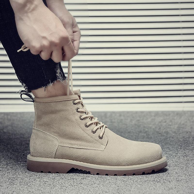 Мужской мартин сапоги помощь масса обувной британская мода высокий обувной весна мужчина ботинки корейская волна мужчина пустыня ботинок дикий