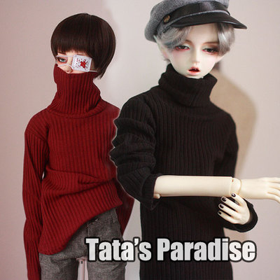 taobao agent 1/4 points 3 points uncle BJD.MDD baby clothes bottoming top high collar pit stripe thin sweater burgundy/black
