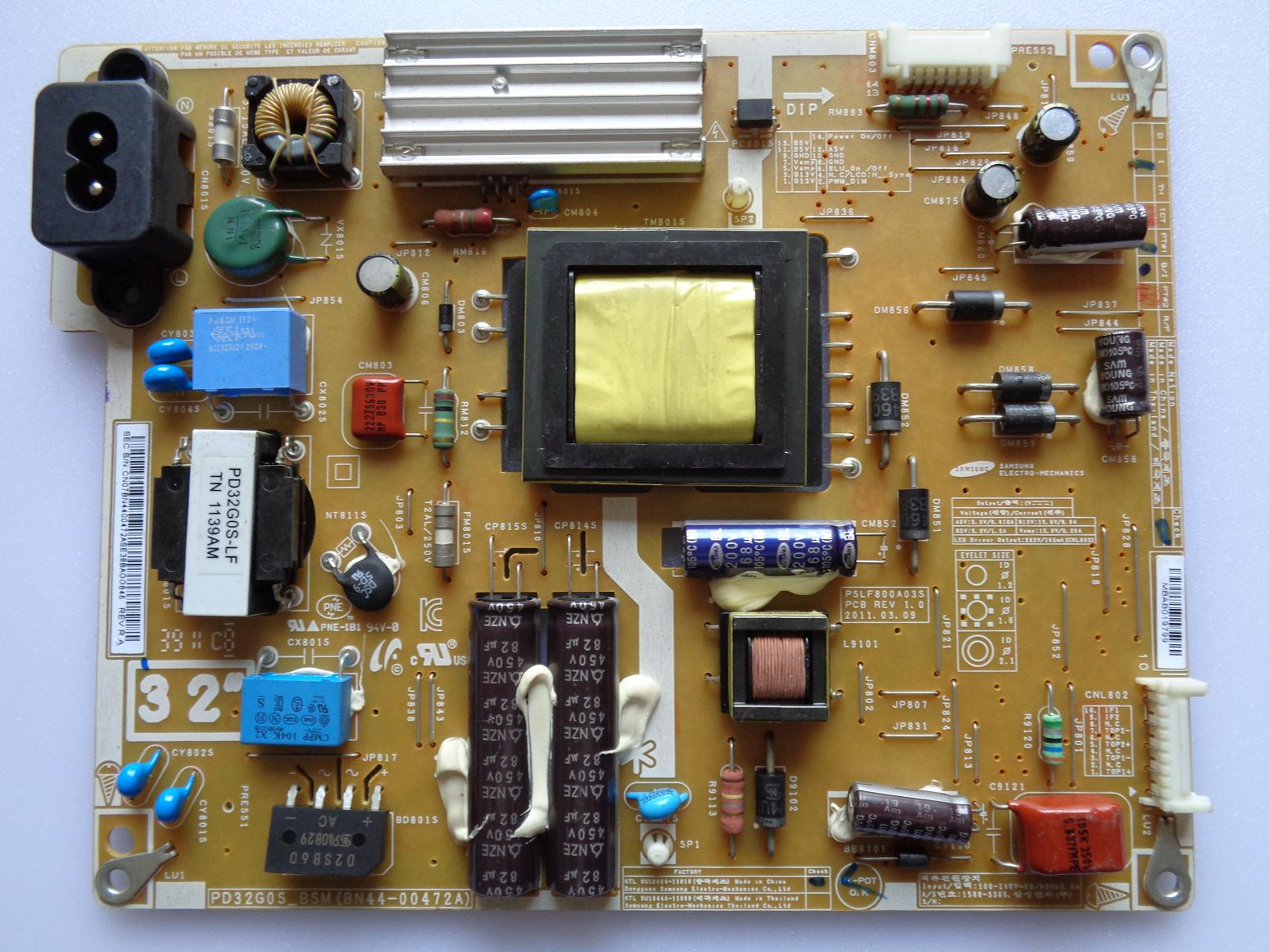Online Guide for repair Samsung UA32D4003B without power supply ...