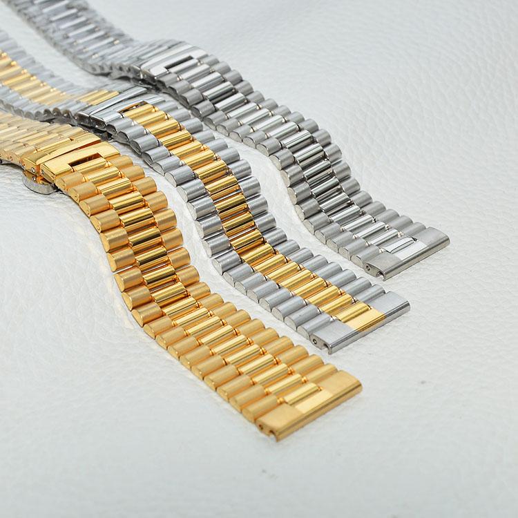 全钢表带 手表配件 实心钢蝴蝶扣钢带 男式精钢表带 三珠双用表链