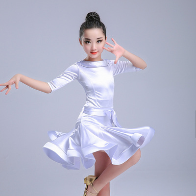 Girls Latin Dance Dresses Latin Dance Examination Provisions for Gongfu Dresses, Mid-sleeve Dresses, Performing Standard Art Examination Exercise Dresses