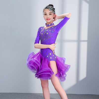 Girls Latin Dance Dresses Latin Dance Professional Show Dresses Competition Show Dresses with Open Pompon Yarn Skirt and Diamond Latin Show Dresses