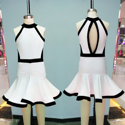 Girls Latin Dance Dresses Sexy Latin Dance Costume Daughter's Backless Collar Competition Costume White Sleeveless Costume