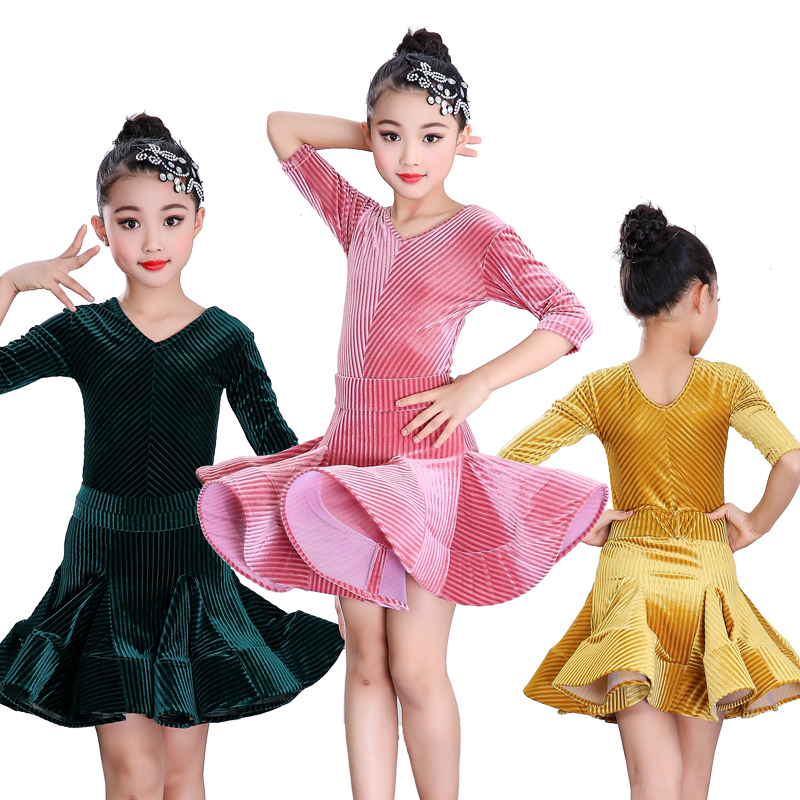Girls Latin Dance Dresses V-collar Middle-sleeve Latin Dance Performance Big Dress Girl's Grade Examination Requirements Performing Dresses
