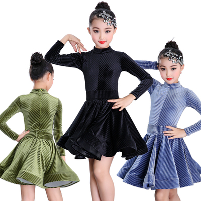 Girls Latin Dance Dresses Latin Dance Costume Children's Girls'Golden Velvet Dresses for Gonggong Competition Dresses Performing Long Sleeves