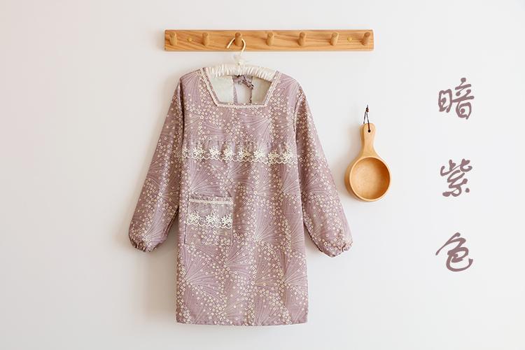 圍裙韓版時尚可愛家用廚房罩衣防水防油反穿衣家居長袖圍裙工作服~陶陶百貨