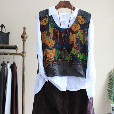 Spring and autumn literary retro casual bear printing knitting jarlete vest sweater sleeveless pull women's loose jacket
