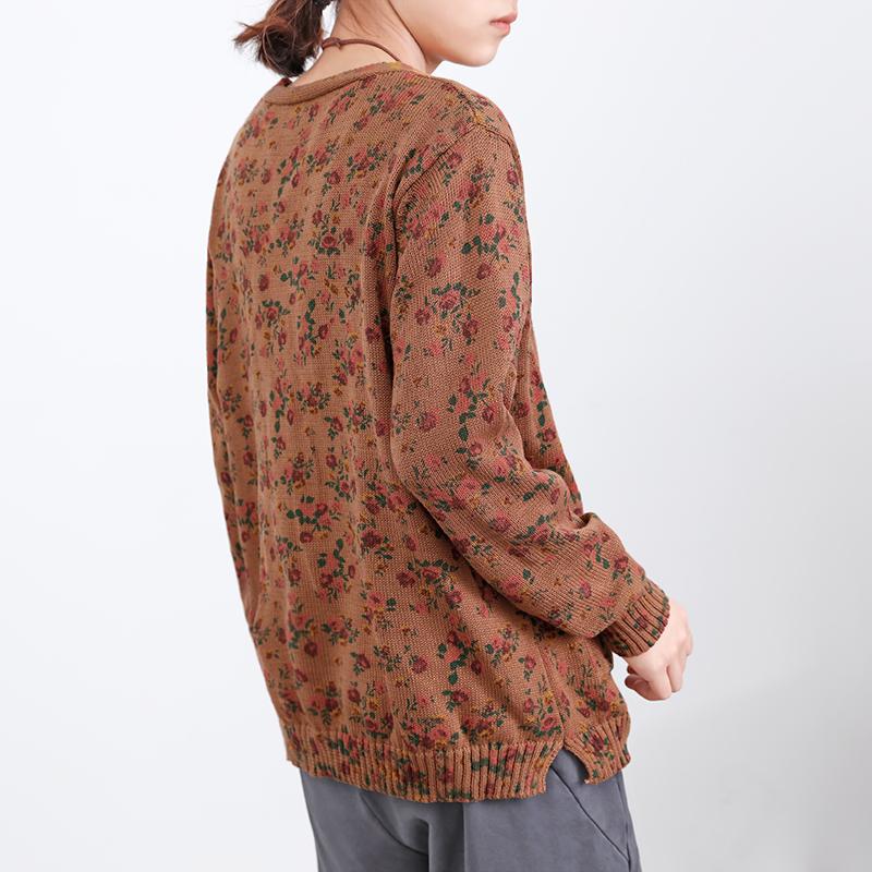 Áo len dệt kim của phụ nữ Hoa nhỏ in Top mùa xuân và mùa thu Kiểu áo len hoang dã kiểu retro mới Áo khoác ngoài đường thủy triều - Vòng cổ áo len