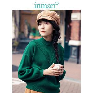茵曼2017春秋文艺灯笼袖半高领短款宽松绿色套头毛衣女长袖针织衫