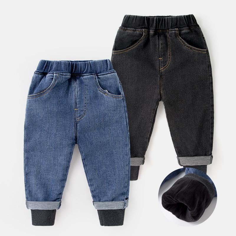 Quần jeans nhung trẻ em mùa đông kiểu tây quần tây dày giả hai mảnh của mùa xuân và mùa thu quần bé ấm áp - Quần