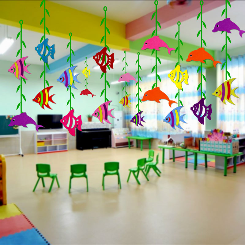 Kindergarten accessories shops decorated corridor air ceiling ornaments  creative ocean fish
