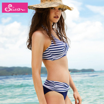 Vacation Swimming Higanto chest mat sexy striped beach bikini big breasts