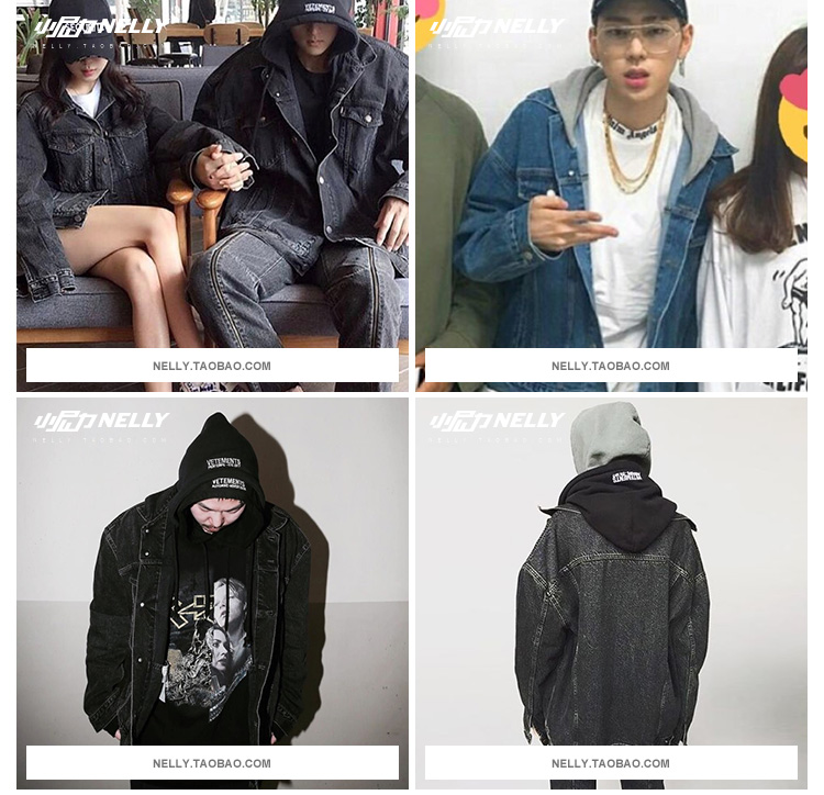 High Street Trung Quốc có hip hop denim jacket coat giả hai mảnh của retro trùm đầu rửa denim quần áo cho nam giới và phụ nữ
