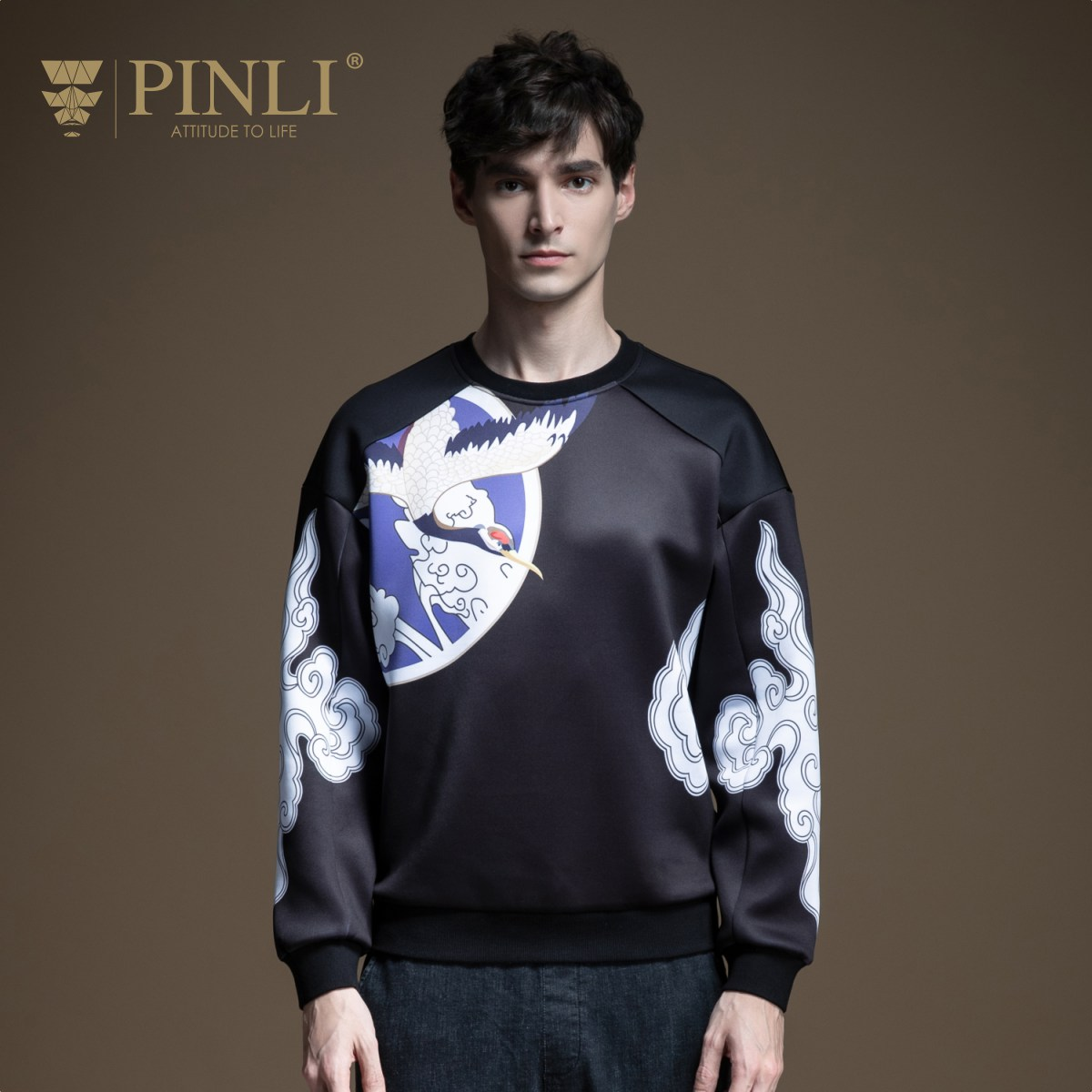PINLI 2020 xuân mới nam cổ tròn quốc triều in áo thun áo len B201209030 - Áo len