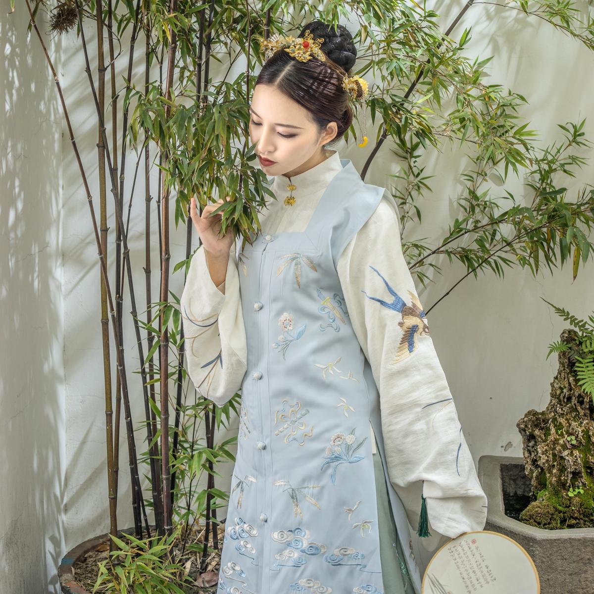 【都城南庄】汉服明制绣花方领长比甲可搭袄裙襦裙交领竖领-媌画