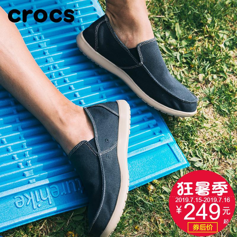 Crocs脚蹬鞋男卡骆驰圣克鲁兹一帆布v脚蹬便鞋低帮乐福商务|202972