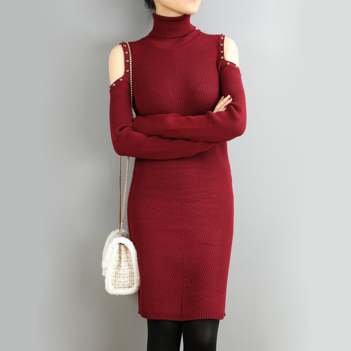 高领秋冬新款短款钉珠打底露肩长袖包臀欧美针织紧身连衣裙女D300