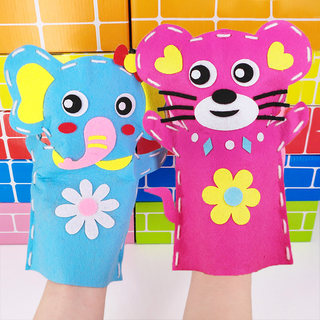 Cloth doll toys interactive animal gloves children's kindergarten non woven hand made DIY material bag