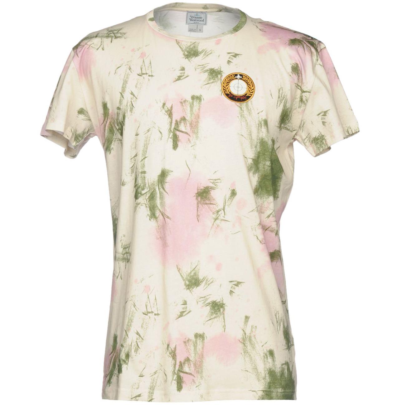 VIVIENNEWESTWOODMAN19春夏抽象印花男士纯棉徽章短袖T恤