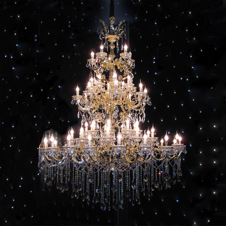 欧式别墅吊灯复式楼酒店奢华新品灯饰 金色古典进口水晶蜡烛吊灯