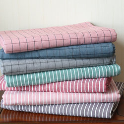 Exported to France, three-piece cotton old coarse cloth bed sheet, thick and encrypted cotton linen linen check sheet single piece