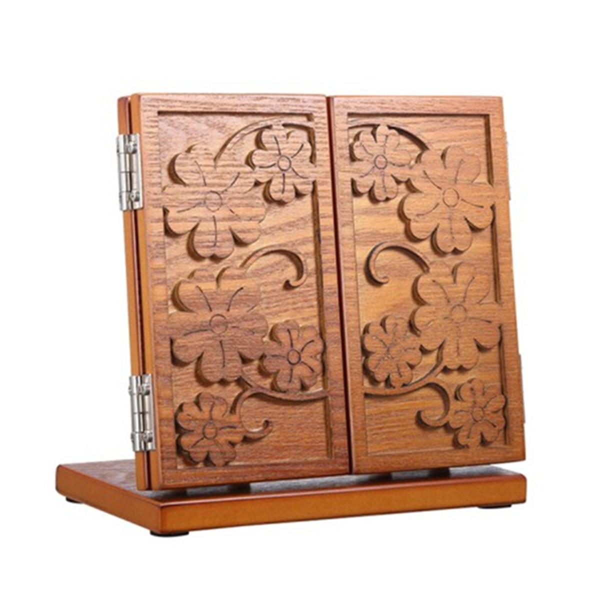 Gương trang điểm theo phong cách châu Âu bằng gỗ gương gấp máy tính để bàn gấp gương cầm tay lớn hai mặt gương cao cấp - Gương