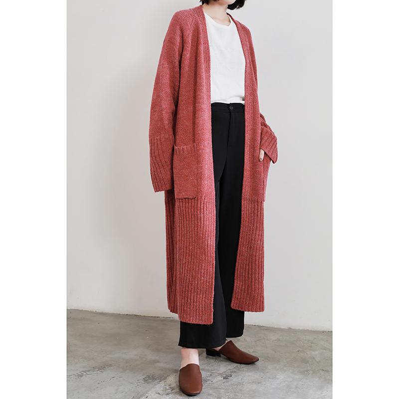时游韩版女装秋冬新超长款毛衣外套女宽松开衫针织衫中长加厚大衣
