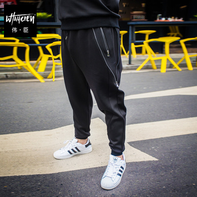 Wei Chen tide brand large size men's pants pants men plus fertilizer to increase pants fat guy sports beam pants fat