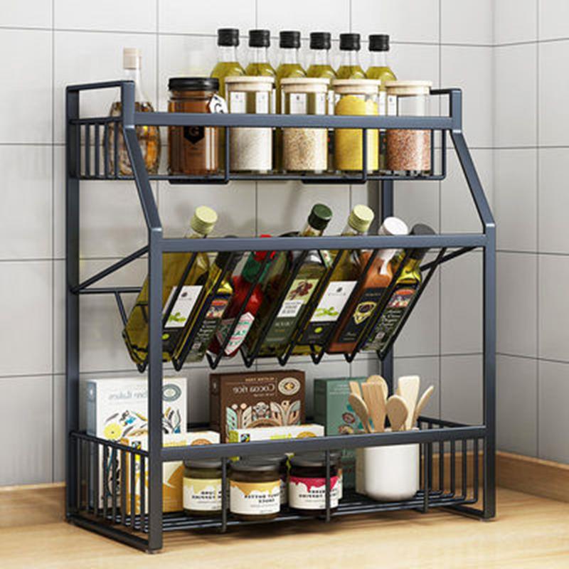 厨房置物架落地调料置物■架多功能厨房用品收☆纳架免打孔储物架多层