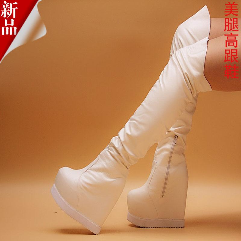 16公分17厘米超高跟鞋内增高坡跟厚底15CM显瘦长筒过膝靴白色女鞋