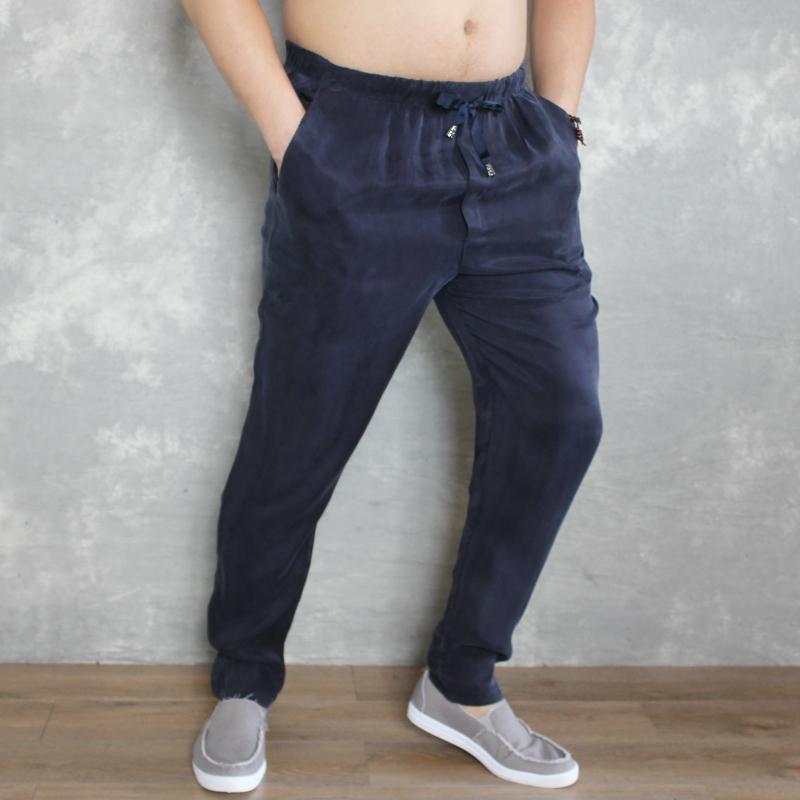 Mùa hè quần nam mỏng lụa quần âu Mỏng đàn hồi eo quần lụa nam kích thước lớn quần chân lụa