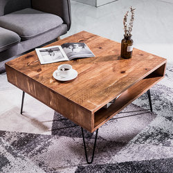 Coffee table American retro distressed solid wood wrought iron small apartment creative simple Kung Fu tea table industrial style living room tea table