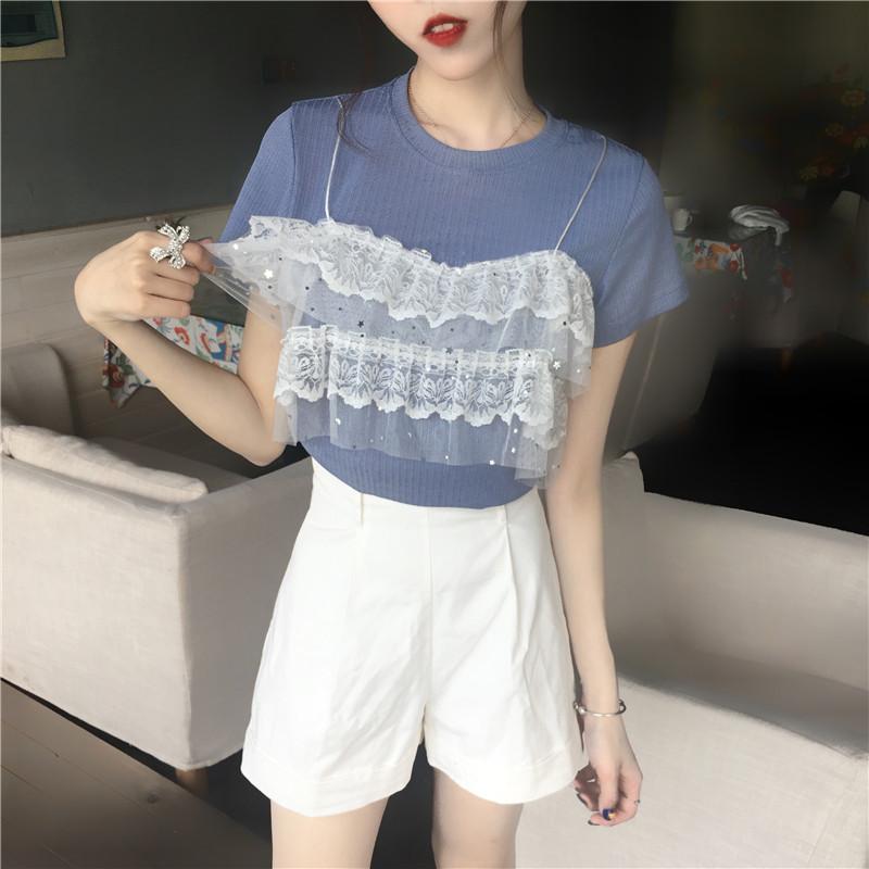 夏季韩版女装新款蕾丝拼接假两件上衣圆领短袖针织衫百搭T恤   5,免费领取200元淘宝优惠卷