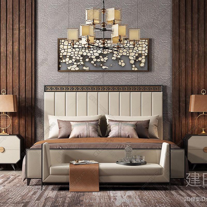 Mới Trung Quốc phong cách giường gỗ rắn giường đôi 1.8m cổ điển Zen phòng ngủ giường ngủ biệt thự nội thất tùy chỉnh 259454 - Bộ đồ nội thất