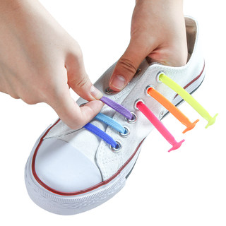 Lace buckle lazy shoelace women's white shoes children's free tie elastic silicone sports flat shoelaces men