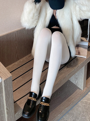 taobao agent White stockings rompers, spring and autumn models, medium thickness, sexy, thin striped pattern, Japanese thin section, beautiful legs, white stockings
