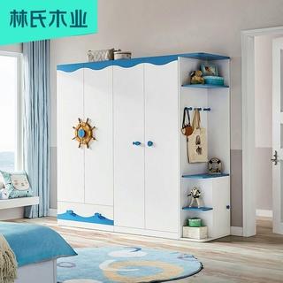 Гардеробные шкафы,  Средиземноморье ребенок гардероб маленький ребенок квартира три деревянный мальчик один спальня 3 дверные шкаф мебель DF1D, цена 18411 руб