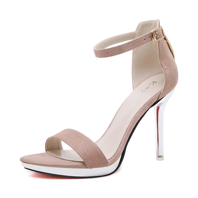 Pink suede and metallic nappa mix platform sandals's main photo