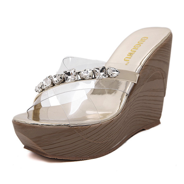 Wedge slippers with diamond's main photo
