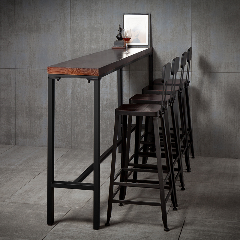 Bar Table Simple Modern Home Wall High Wrought Iron Table And Chair  Combination High Bar Solid Wood Strip Narrow Table