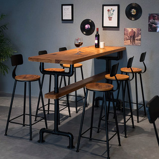 High foot bar bar table solid wood American milk tea shop table and chair combination household simple long table high foot against the wall