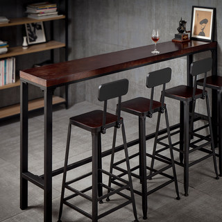 Bar table simple home modern bar wall table and chair combination high table wrought iron solid wood long narrow high table
