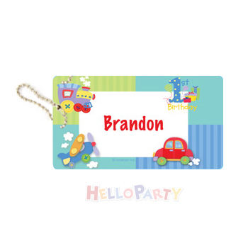 Bag pendant name anti-lost party gift 1 year old toy car and airplane luggage tag