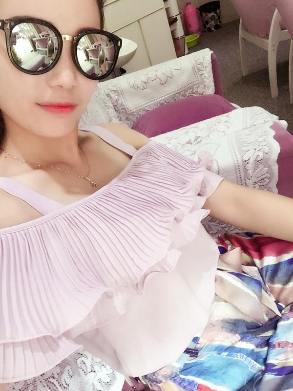 6度2016夏装韩版新款洋气高腰抽象印花缎面腰带阔腿九分裤女K5208