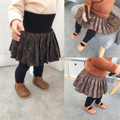 Chen Chen mom and child baby 1-2-3 years old baby girl skirts fall and winter skirts care belly baby plaid skirt