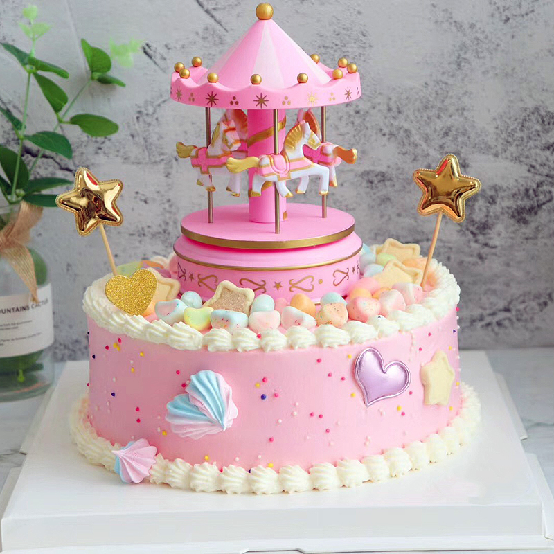 Remarkable Childrens T Merry Go Round Birthday Cake Decorated With Personalised Birthday Cards Akebfashionlily Jamesorg