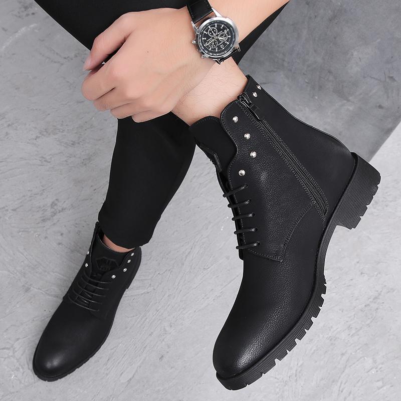 马丁靴男高帮皮鞋英伦休闲男短靴韩版潮流真皮黑色增高皮靴子男鞋